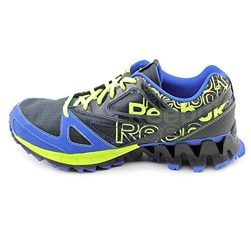 Reebok Men's Zig Kick Trail 1.0 Running Shoe,Gravel/Black/Neon Yellow/Vital Blue/White,14 M US