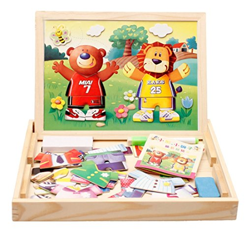 Magnetic Toys For Boys : Lewo wooden magnetic lion bear dress up toys double