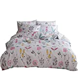 VClife Twin Bedding Sets Flower Leaves Branches Printed Duvet Cover Sets Chic Reversible Striped Geometric Kids Adults Quilt Comforter Cover Sets, 3 PCS Home Textile for Friend, Girls, Woman, Teens