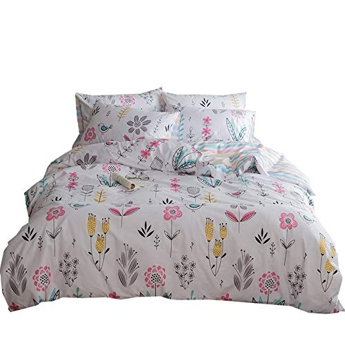 VClife Queen Full Bedding Sets Floral Garden Style Duvet Cover Set Adult Kid Geometric Stripe Bedding Collection, Zipper Closure Corner Tie, Lightweight Comfortable Home Decor, Skin-friendly, (Garden Duvet Cover Set)
