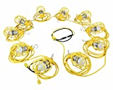 100ft Temporary String Light - Ten LED Work Lamps - 100 Watt LED Stringer - 12/3 SJTW - Twist Lock