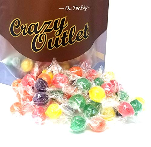 CrazyOutlet Pack - Assorted Sour Fruit Flavored Primrose Hard Candy Balls, Orange, Grape, Lemon, Lime and Cherry Flavored Hard Candies, Individually Wrapped, Bulk Pack, 2 lbs ()