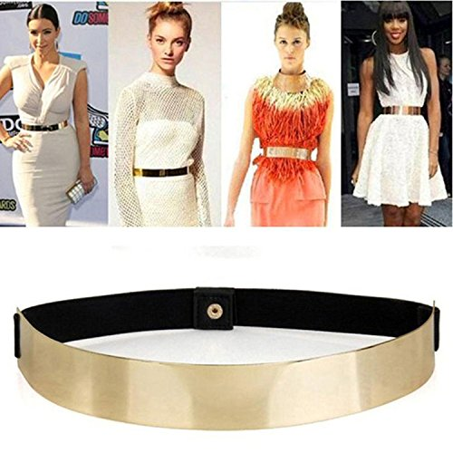 (ALAIX Fashion Womens Gold Mirror Stretch Waist Dress Belt-Golden Mirror)
