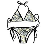 ART TANG Women's Tie Side Bottom Triangle Bikini Swimsuits Gift - American Dollar Sign