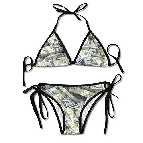 ART TANG Women's Tie Side Bottom Triangle Bikini Swimsuits Gift - American Dollar Sign by ART TANG
