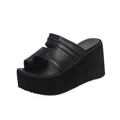 Damen Platform Dick Absatz Schwarz Leder Sandalen Peep Toe Sommer Schuhe
