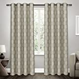 Exclusive Home Curtains Domino Jacquard Grommet Top Window Curtain Panel Pair with Blackout Liner, Taupe, 54x108