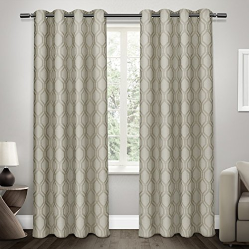 Exclusive Home Domino Heavyweight Jacquard Linen Blackout Window Curtain Panel Pair with Grommet Top 54×108 Taupe 2 Piece