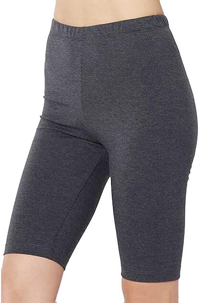 GDJGTA Womens Pro Compression Yoga Running Workout Biker Shorts Mid Thigh Stretch Athletic Tights Leggings