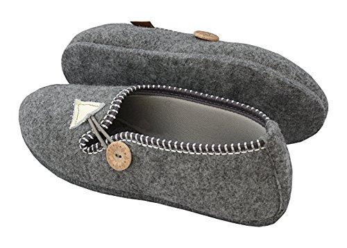 BeComfy Filzpantoffeln Hausschuhe Aus Filz/Natürliche Wolle Warme Hausschuhe I Elastisch Pantoffel mit Verstellbarem Gummizug Filzsohle/Gummisohle Modell XF Grau-Filzsohle