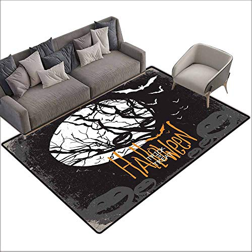 Inner Door Rug Vintage Halloween Halloween Themed Image with Full Moon and Jack o Lanterns on a Tree Easy to Clean W6' x L7'10 Black -