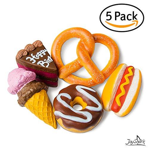JoyShark Jumbo Squishies Slow Rising [5-Pack] | Ice Cream, Donut, Cake, Pretzel & Hot Dog Squeeze Stress Relief Toy For Kids & (Ice Cream Cake)