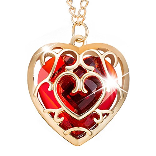Necklace Red Heart Glass (Power Wing Heart Pendant Necklace Cubic Zirconia Sweater Chain for Women Men Best Gifts Christmas Jewelry (Heart-red CZ))