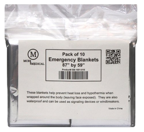 "MCR Medical Supply SB 1001 010 Silver Mylar Emergency Blanket, 59"" x 87"" (Pack of 10)"