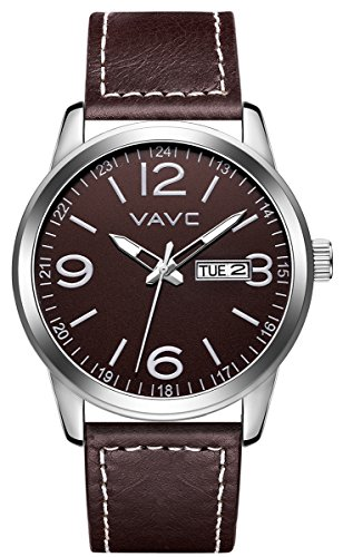 Brown Dial Dress (VAVC Men's Fashion Minimalist Casual Coffee Brown Leather Band Analog Quartz Wrist Watch with Coffee Brown Dial and Day Date Function)