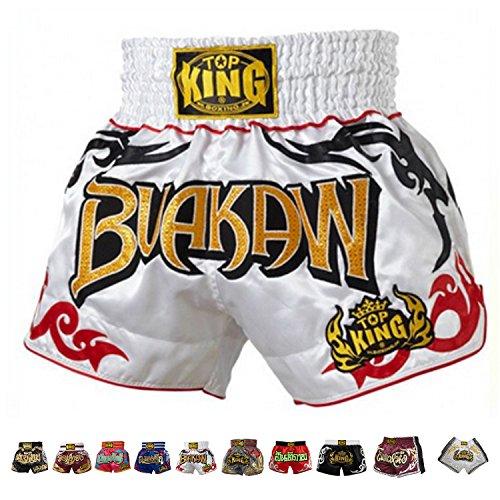 Top King Boxing Muay Thai Shorts Normal or Retro Style Size S, M, L, XL, 3L, 4L (White Buakaw L)
