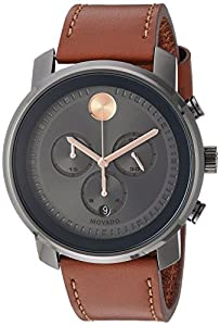 Movado Men's Swiss Quartz Stainless Steel and Leather Casual Watch, Color:Brown (Model: 3600421)