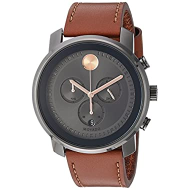 b300b0062 Movado Men's Stainless Steel Swiss-Quartz Watch with Leather Strap, Brown,  22 (