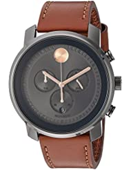 Movado Mens Swiss Quartz Stainless Steel and Leather Casual Watch, Color:Brown (Model: 3600421)
