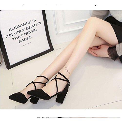 RUGAI basso punta comodi tacco Sandali da a da sandali Baotou e donna UE estivi grey scarpe donna Light rUq0rwz