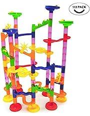 FEIRAN 112tlg Kugelbahn Mehrfarbige Murmelbahn DIY Marble Run Set für Kinder ab 3 Jahre