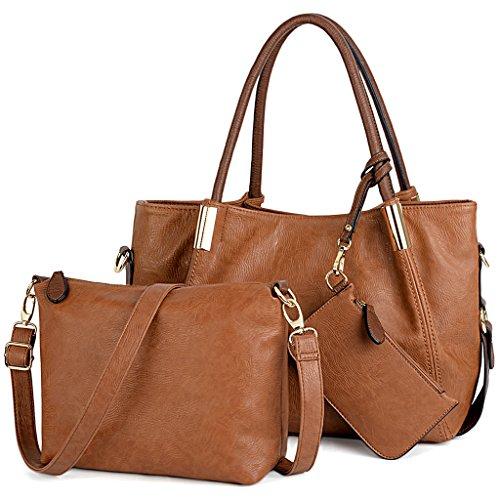 - UTO Women Handbag Set 3 Pieces PU Leather Tote Crossbody Shoulder Purse Bags Wallet Strap Brown_