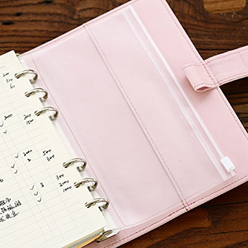 DadaCrafts(TM) 4-Packs Clear Plastic Zipper Pockets for A6 6-Ring Notebook Binder