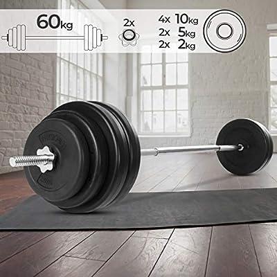 Physionics Barra de musculación de Pesas 60 kg - Barra Larga 165 ...