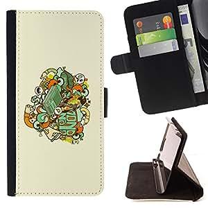 BullDog Case - FOR/Sony Xperia Z1 Compact D5503 / - / Skull Badge /- Monedero de cuero de la PU Llevar cubierta de la caja con el ID Credit Card Slots Flip funda de cuer