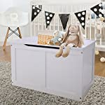 LAZYMOON White Wooden Toy Storage Box Chest Bench MDF Organizer Furniture Bin Playroom Living Room