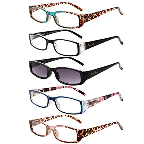 LianSan 5 Pack Rectangular Spring Hinge Reading Glasses Includes Comfort Sun Readers For Women - Www.sun Glasses