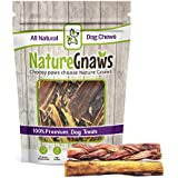 Nature Gnaws 100% Natural Bully Sticks - Combo Pack - (3) Braided & (3) Large Bully Sticks (6 total pieces) 5-6 inch - Oven-Baked Grass-Fed Free-Range Premium Beef Dog Chews