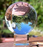 """Clear Crystal Ball with Stand, MerryNine 3-1/5"""" /80mm Art Decor K9 Crystal Prop for Photography Decoration (3-1/5"""" DIA, K9 Clear)"""