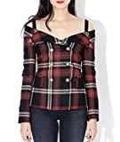 Wiberlux Faith Connexion Women's Off-Shoulder Check Jacket 36 Multi-colored
