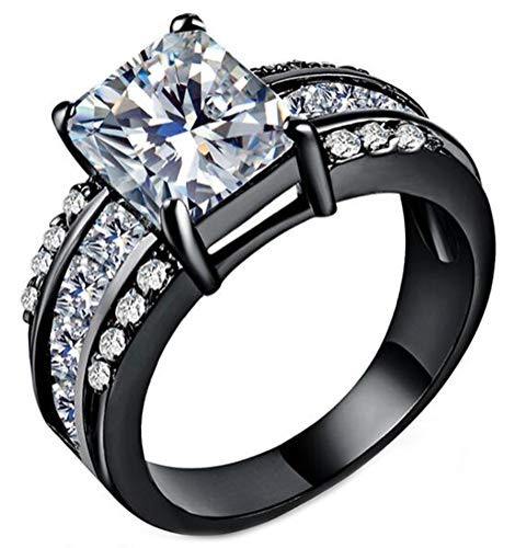 (Chen Dick Women's Black Gold Emerald Cut Cubic Zirconia Engagement Promise Ring,Size 7)