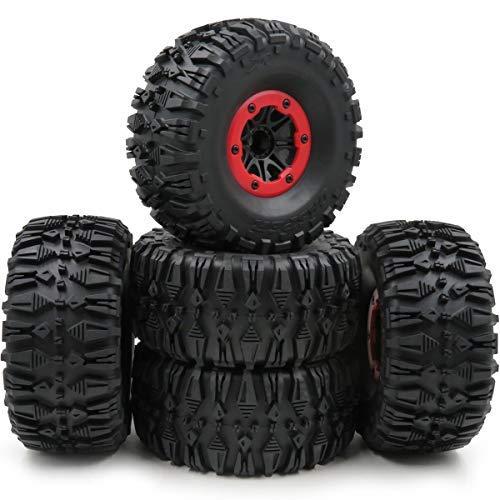 hobbysoul 5ピース RC 2.2 クローラータイヤ 高さ:135mm & 2.2インチ ビーズロックホイールリム六角12mm B07N66999G
