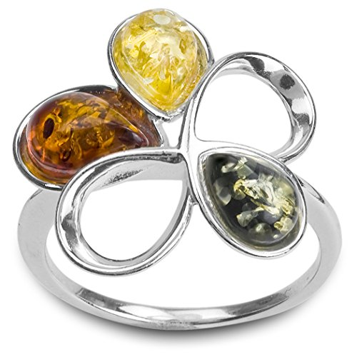 Sterling Silver Multicolor Amber Flower Ring