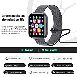 2020 Upgraded Smart Watch, Fitness Tracker with Heart Rate/Sleep/Steps Monitor Compatible for iPhone Samsung Android, Bluetooth Smartwatch for Men Women