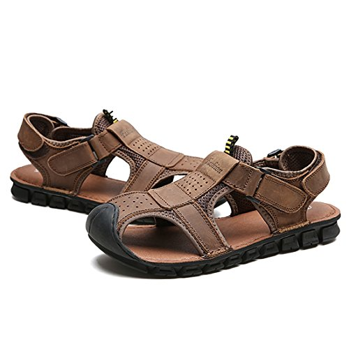 Tda Mens Sandales Dété Plage En Cuir Respirant Chaussures Deau En Plein Air Marron