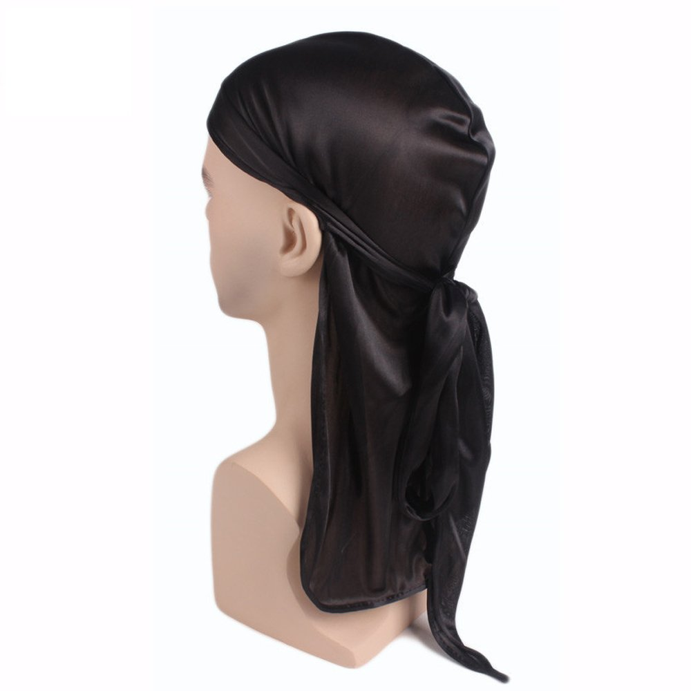 2pcs Farway Silk Durag Headwraps Unisex with Long Tail and Wide Straps