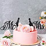 Wedding Cake Toppers Mr & Mrs - Silhouette of Bride and Groom |Couple Kissing Unique Rustic Wedding Decorations Cake Toppers (Solid Black) #W1