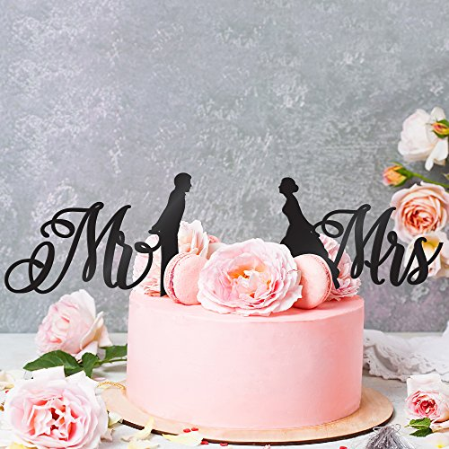 Wedding Cake Toppers Mr & Mrs - Silhouette of Bride and Groom |Couple Kissing Unique Rustic Wedding Decorations Cake Toppers (Solid Black) - Black Wedding People Topper Cake
