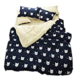 FenDie Animal Cat Printed Duvet Cover Set Cotton Kids Reversible White Yellow Stripes Bedding Set Modern 3 Piece Duvet Cover Set Queen Navy Blue for Girls Boys, No Comforter