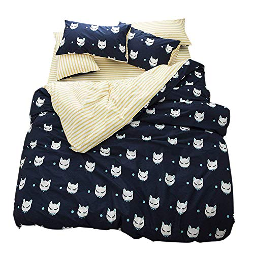 FenDie Animal Cat Printed Duvet Cover Set Cotton Kids Reversible White Yellow Stripes Bedding Set Modern 3 Piece Duvet Cover Set Queen Navy Blue for Girls Boys, No Comforter by FenDie