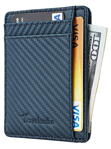 Travelambo RFID Front Pocket Minimalist Slim Wallet Genuine Leather Small Size (carbon fiber texture blue)carbon fiber texture - Carbon Fibre Blue