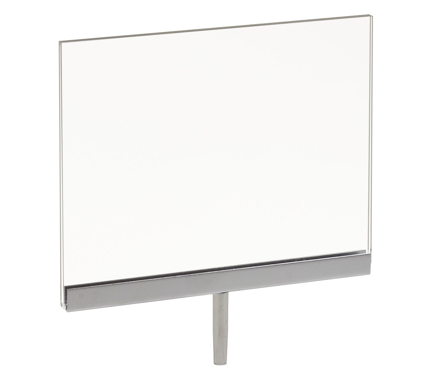 """7"""" Width x 5-1/2"""" Height Acrylic Sign Holder with 1-1/2"""" Welded Swedge Stem"""