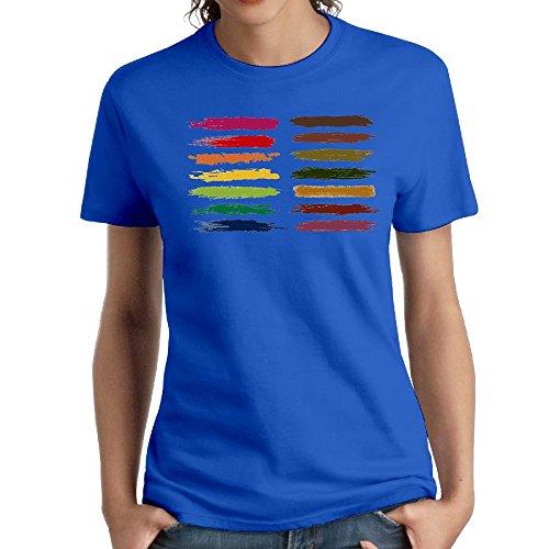 (Women's Cotton Short-Sleeved T-Shirt Design Painted Logo RoyalBlue XXL)