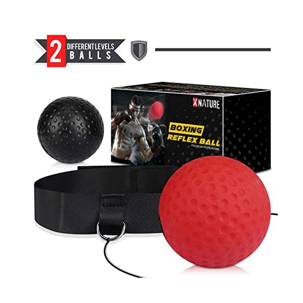 Xnature-Reflex-Boxing-Ball-Fight-Reflex-Ball-for-Reaction-Boxing-Training-Punching-Speed-AdultKid-Red-Black