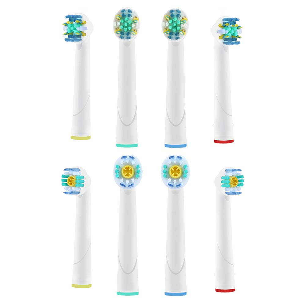 Toothbrush Replacement Heads Compatible with Braun Oral B Professional Care Triumph Vitality |Floss Action & 3D White| Remove Plaque and Teeth Whitening, Variety 8 Count by Lanveda