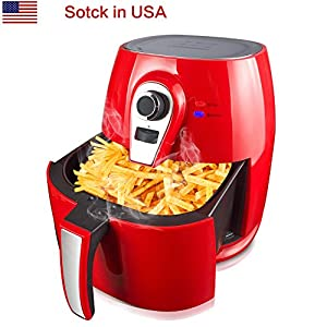 UDIT 1400W Air fryer Smokeless Low-Fat Healthy Food Non-stick Multi-Cooker Oilless Cooker, 4L 3.8QT Capacity with Timer and Temperature Control and Detachable Basket Handles RED